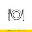 Plate, Fork, Knife Icon / Vector - In Line / Stroke Design