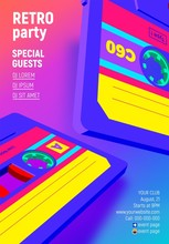 Compact Cassette Poster With Vibrant Retro 80s Styled Party Invitation