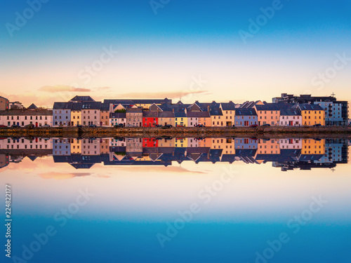 Beautiful panoramic sunset view over The Claddagh Galway in Galway city, Ireland Wallpaper Mural