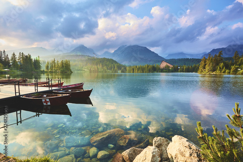 Mountain lake in Slovakia. Strbske Pleso. Europe