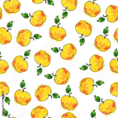 bezszwowy-wzor-z-zoltymi-swiezymi-jablkami-i-zielonymi-liscmi-na-bialy