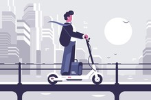 Young Man Riding Electric Scooter Modern Cityscape