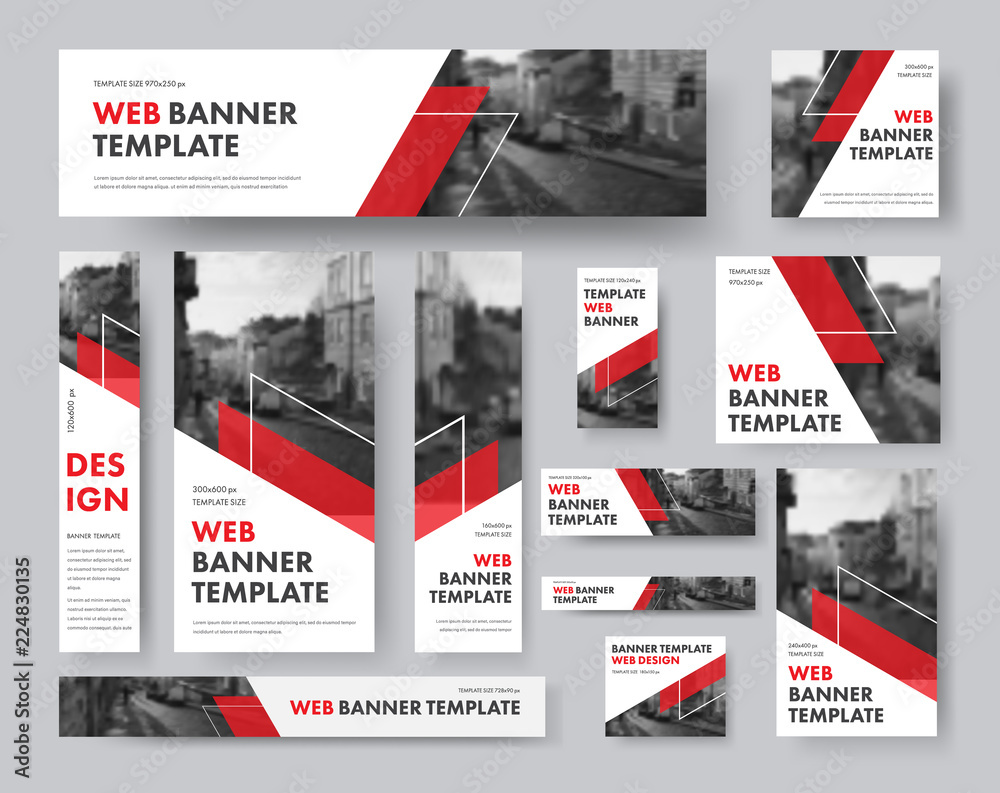 Fototapeta set of web banners of different sizes with diagonal red elements and a place for photos.