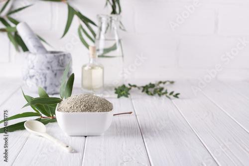 Fototapeta Dry facial clay powder in bowl