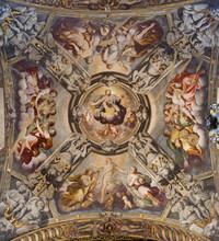 REGGIO EMILIA, ITALY - APRIL 12, 2018: The Ceilin Fresco Of Church Basilica Di San Prospero By  C. Manicardi, G. Ferrari And A. Lugli (1884-1885).