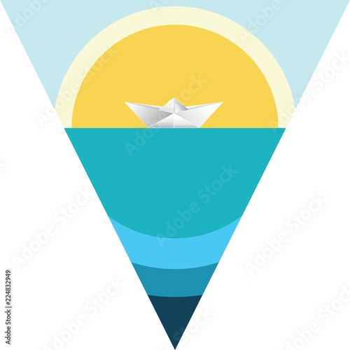 Obraz na płótnie Paper boat in the sea
