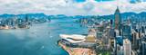 Fototapeta Do pokoju - Aerial view of Hong Kong skyline