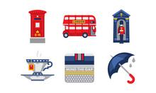National Symbols Of England, United Kingdom Design Elements Vector Illustration On A White Background