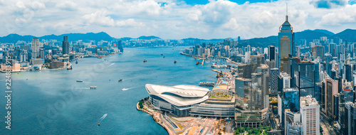 Stickers pour porte Hong-Kong Aerial view of Hong Kong skyline