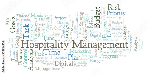 Fotografía  Hospitality Management word cloud, made with text only.