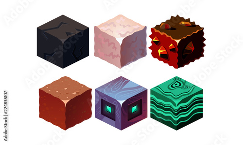 Photo Vector set of isometric blocks with different texture