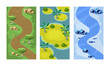 Flat vector set of 3 vertical backgrounds for mobile game. Seamless scenes with forest path, sandy islands and river