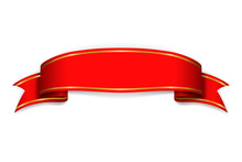 Red Ribbon Banner. Satin Blank...