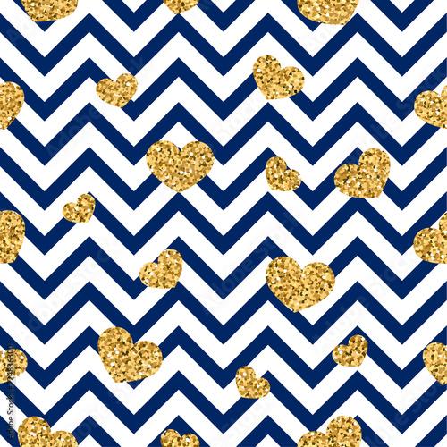 Gold Heart Seamless Pattern Blue White Geometric Zig Zag Golden Confetti Hearts