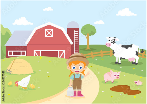 Poster Castle young girl farmer working at farm with cow chicken and pigs