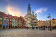 Leinwanddruck Bild - Architecture of the Main Square in Poznan, Poland.