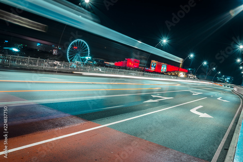 Light trails on road in night city