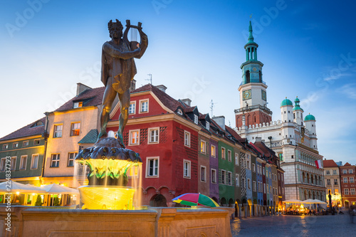 Obraz Architecture of the Main Square in Poznan, Poland. - fototapety do salonu