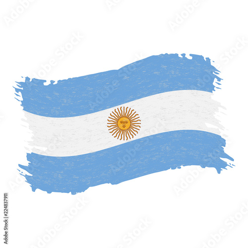 Fotografie, Tablou  Flag of Argentina, Grunge Abstract Brush Stroke Isolated On A White Background