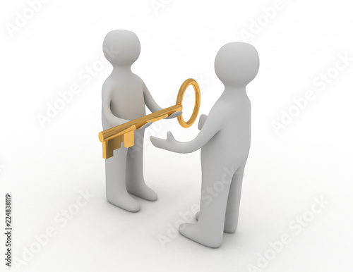 Fotografie, Obraz  3d man giving golden key to another person