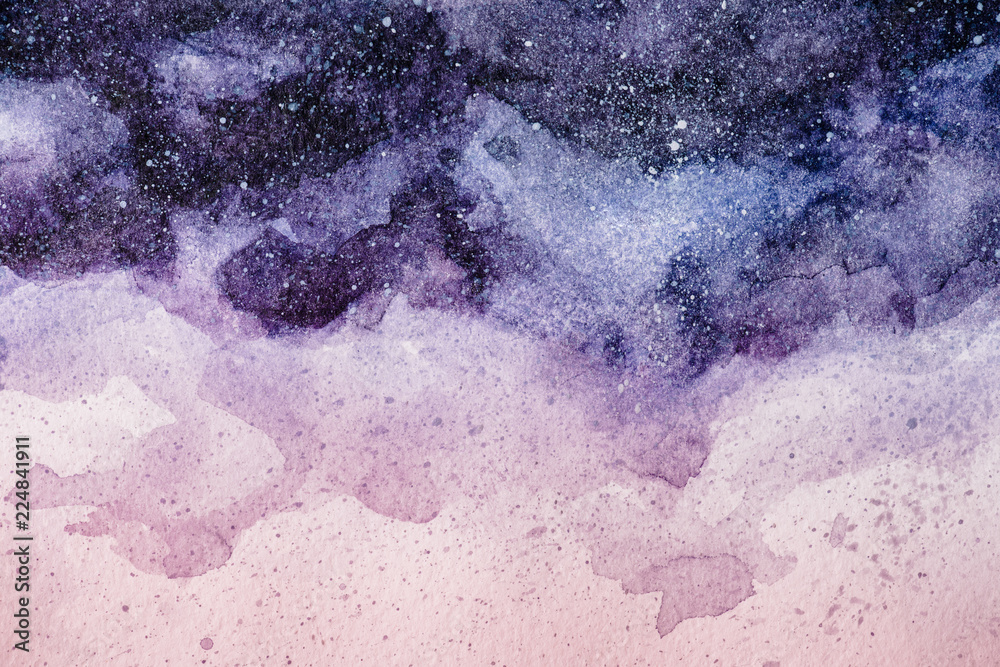 Fototapeta full frame image of night sky painting with purple and pink watercolor paints background