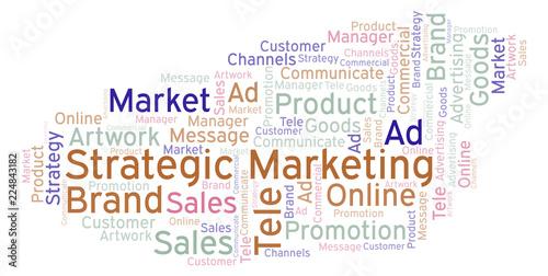 Fotografía  Word cloud with text Strategic Marketing.