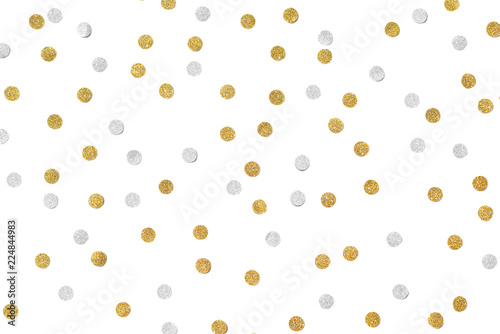 Obraz Gold and silver glitter confetti paper cut on white background - isolated - fototapety do salonu