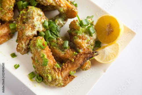Fototapeta Green Chilli Chicken Wings Close Up obraz