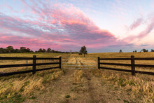 Country Timber Farm Gate With Colourful Sky