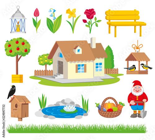 Photo  Spring set of colorful gardening icon