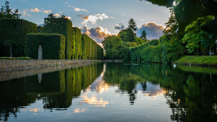 High hedge, clouds and its reflection in the pond at the Oliwa Park in the
