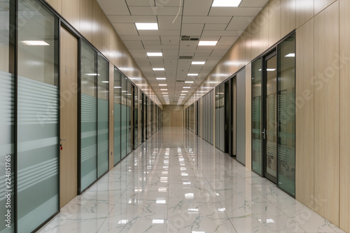 Large empty office corridor Canvas Print