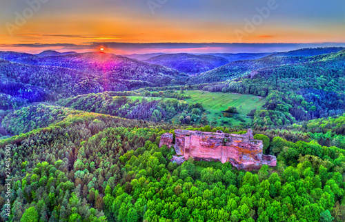 Foto op Aluminium Groene Fleckenstein Castle in the Northern Vosges Mountains - Bas-Rhin, France