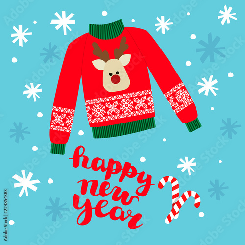 cd1741d04368a illustration of a red Christmas sweater with deer.Funny holiday background. Bright  Christmas card