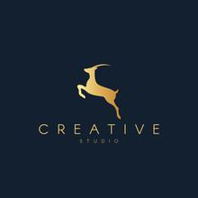 Antelope Logo. Antelope Silhouette. Trendy Animal Logo Design