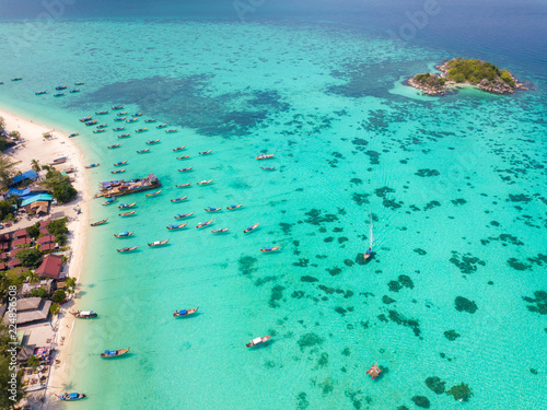 Spoed Foto op Canvas Oceanië High aerial overview of entire tropical Thai island of Ko Lipe and Andman Sea in Thailand