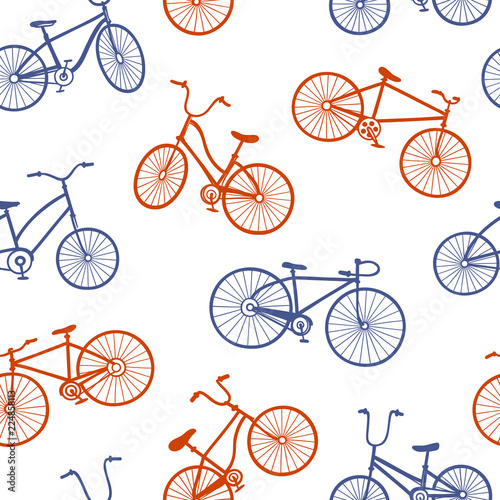 Deurstickers Kranten Colored Seamless Vector Pattern with Drawings of Different Bicycles