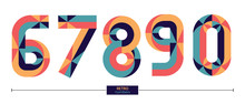 Numbers Retro Style In A Set 6...