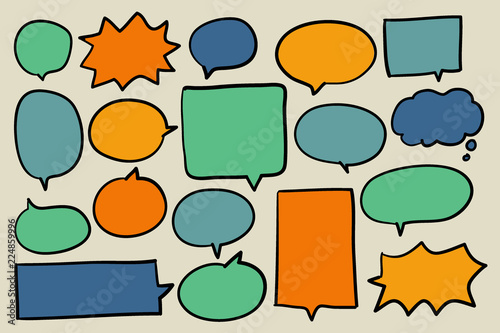 Fototapety, obrazy: Collection of colorful speech bubbles vector