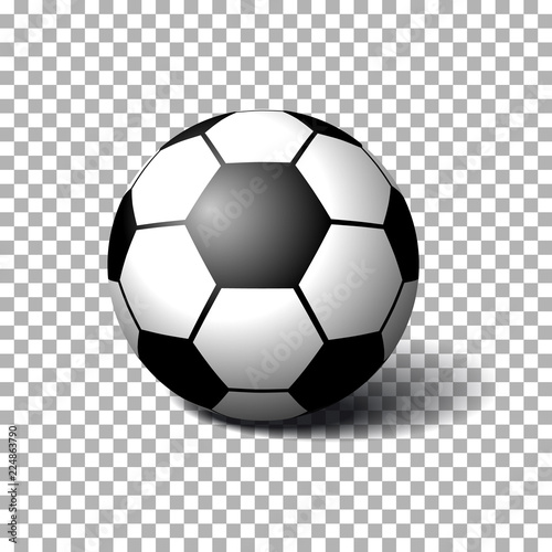 Staande foto Bol Realistic Soccer ball on transparent background. Isolated vector illustration on transparent background.