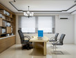 Modern company leadership office, leather chairs, wooden tables, bookshelves, etc.