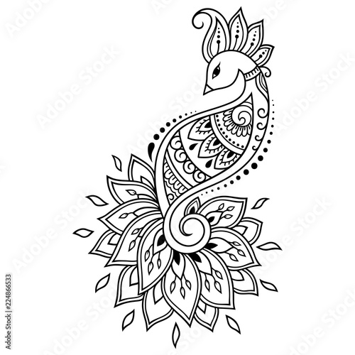 Mehndi flower pattern with peacock for Henna drawing and tattoo
