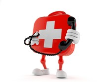 First Aid Kit Character Holding A Telephone Handset
