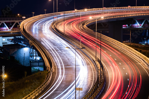 Fotografia Road car light streaks