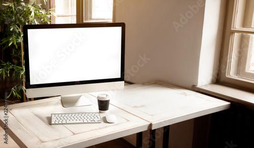 Fényképezés  Workplace with modern computer on the desk