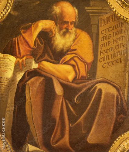 Photo BOLOGNA, ITALY - APRIL 18, 2018: The painting of prophet Jeremiah in church Chiesa di San Benedetto by Giacomo Gavedoni (1577 - 1660)