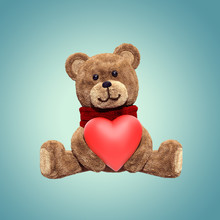 3d Render, Cute Shy Vintage Teddy Bear, Plush Toy, Sitting, Looking At Camera, Wearing Red Scarf, Cartoon Character, Isolated Object On Blue Background