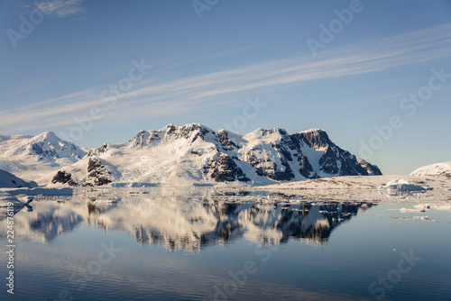 Antarctic landscape with mountains and reflection