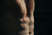 Halloween Muscular Chest Of Man Zombie With Blood