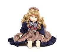 Old Porcelain Doll On White Ba...
